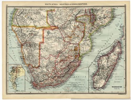1905 Map SOUTH AFRICA Cape Peninsula  MADAGASCAR Industries COMMUNICATIONS Mines